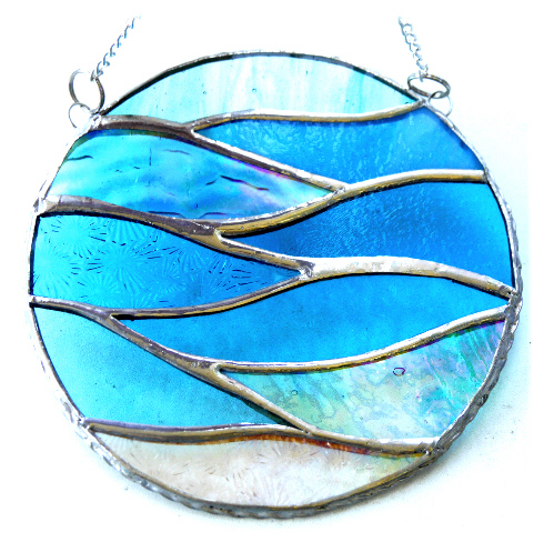 Making Waves Aqua Stained Glass Suncatcher Handmade Ring Sea 021