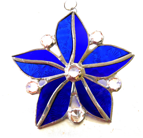 Crystal Star Flower Suncatcher Stained Glass 008 Blues