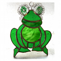 Frog Suncatcher Stained Glass Handmade 051