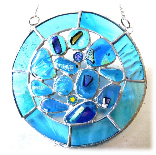 Rockpool Suncatcher Stained Glass Abstract Handmade fused 023
