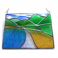 Tropical Beach Stained Glass Picture Landscape 002