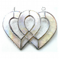 Entwined Heart Suncatcher Stained Glass Silver 25th Wedding 022