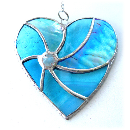 Turquoise Swirl Heart Stained Glass Suncatcher 048