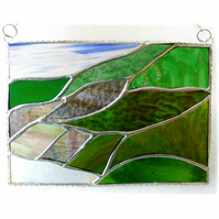 Scottish Mountains Panel Stained Glass Picture Landscape 012