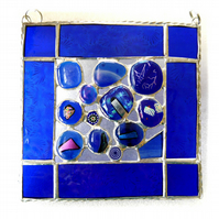 Blue Abstract Suncatcher Stained Glass Fusion 008