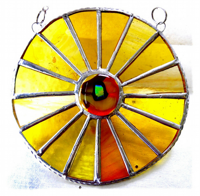 Sun Yellow Suncatcher Stained Glass Handmade Colour Wheel 003