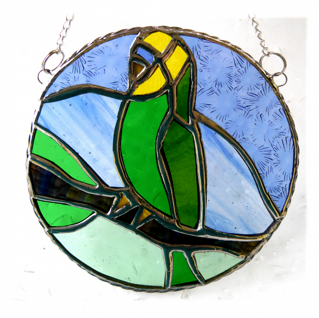 Budgerigar Ring Stained Glass Suncatcher Budgie Green
