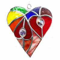 Heart of Hearts Rainbow Suncatcher Stained Glass 058