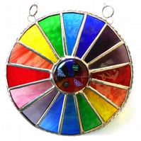 Summer Solstice Rainbow Burst Suncatcher Stained Glass Handmade 031
