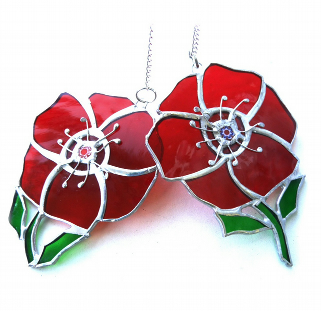 Poppy Suncatcher Stained Glass Handmade Red Flower 045 or 046