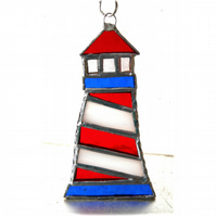 Lighthouse Suncatcher Stained Glass Handmade Red 006