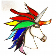 Unicorn Suncatcher Stained Glass Handmade 024 Rainbow