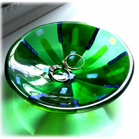 Fused Glass Bowl Round 12cm Green Dichroic 046