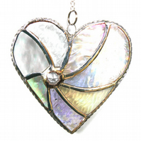 Silver Swirl Heart Stained Glass Suncatcher 062 25th Anniversary