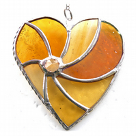 Gold Swirl Heart Stained Glass Suncatcher 061 Golden Wedding