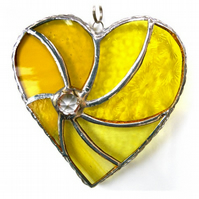 Yellow Swirl Heart Stained Glass Suncatcher 064
