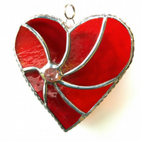 Red Swirl Heart Stained Glass Suncatcher 063 Ruby Wedding