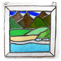 Picos Mountains Picture Suncatcher Stained Glass 008 Spain