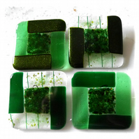 Fused Glass Coasters Set of 4 8cm Green