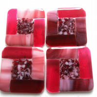 Fused Glass Coasters Set of 4 8cm Pink