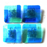Fused Glass Coasters Set of 4 8cm Turquoise
