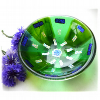 Fused Glass Bowl Round 12cm Green Dichroic 048