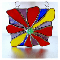 Rainbow Fire Stained Glass Suncatcher Handmade Abstract Flames Bonfire Dichroic
