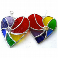 Rainbow Swirl Heart Stained Glass Suncatcher 066 or 067