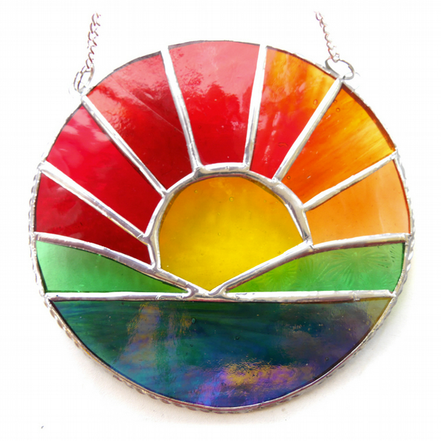 Sunrise Picture Stained Glass Suncatcher Handmade Sun Ring 041