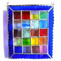 Rainbow Window Stained Glass Suncatcher Handmade Patchwork Geometric 007