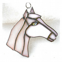 Horse Suncatcher Stained Glass Horsehead White 106