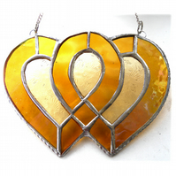 Entwined Heart Suncatcher Stained Glass Golden Wedding 023
