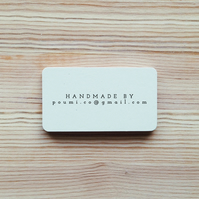 Personalised Handmade By Business Email Rubber Stamp with Wooden Handle
