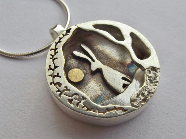 Hare And Moon Gold And Silver Necklace