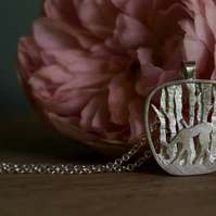 Deer in the woods silver necklace pendant
