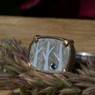 Birch tree silver and gold ring with enamel and blue topaz