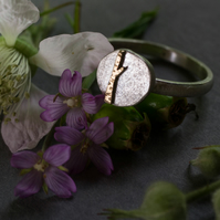 Silver and gold moon and tree ring
