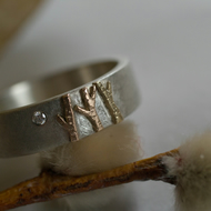 Into the woods silver and gold tree ring with diamond