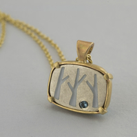 Gold and silver tree necklace with London blue topaz and enamel