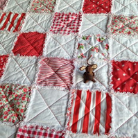 Red and White Patchwork Rag Quilt, Comforter,  Blanket, Throw
