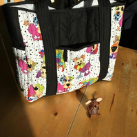 Black and Multi-coloured Dog Print Shoulder Bag