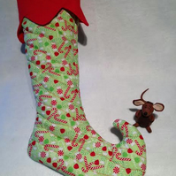 Red and Green Christmas Hanging Stocking Decoration