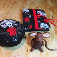 Skulls and Roses Pincushion and Needle case Set