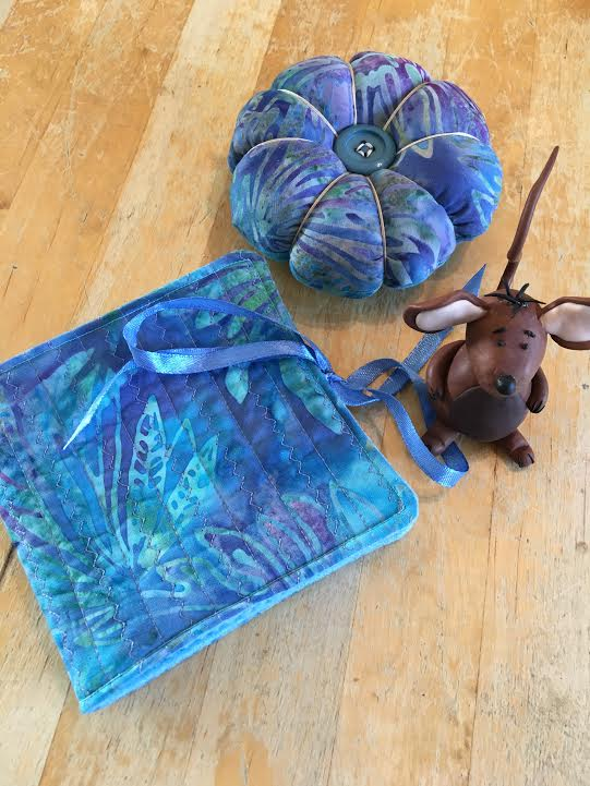Pincushion and Needle Case in Blue and Purple Batik Cotton