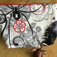 Black and White Spider Make-Up Bag
