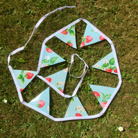 Light blue and strawberry Cath Kidston oilcloth bunting