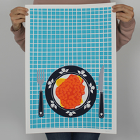 Beans On Toast Screenprint A2
