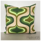 Vintage Green  Psychedelic Fabric Cushion Cover 70s FREE UK P&P