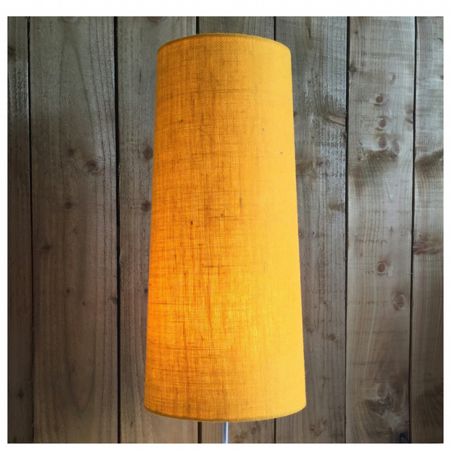 Vintage 60s 70s Style Yellow Hessian Conical Lampshade Fat Lava FREE UK SHIPPING