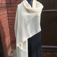 Handwoven Cream Shawl, Pashmina, Wide Scarf